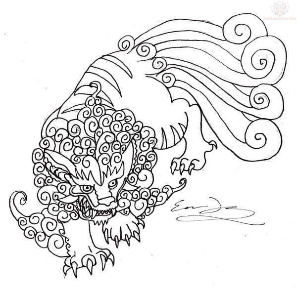 Foo Dog Tattoo Outline Designs