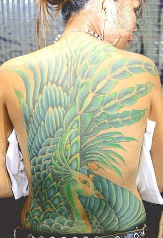 Girl Tattoo Wallpaper Eagle Flowers And Peacock Tattoo On Full Back