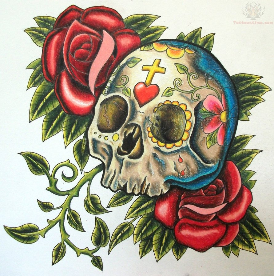 sugar skull and red