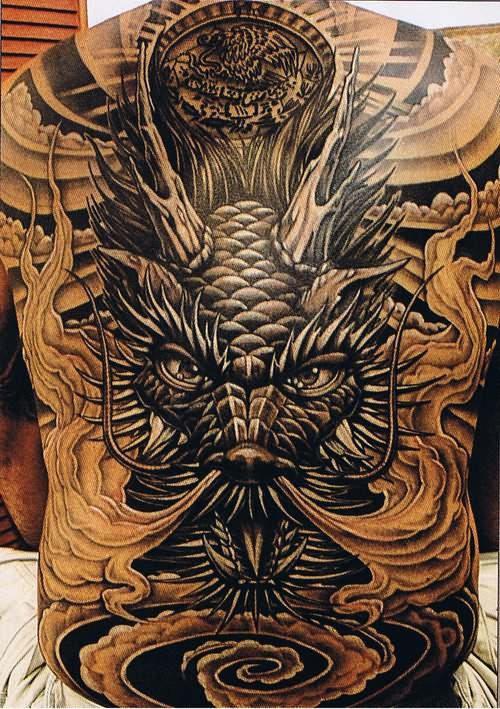 Big Face Dragon Tattoo On Back
