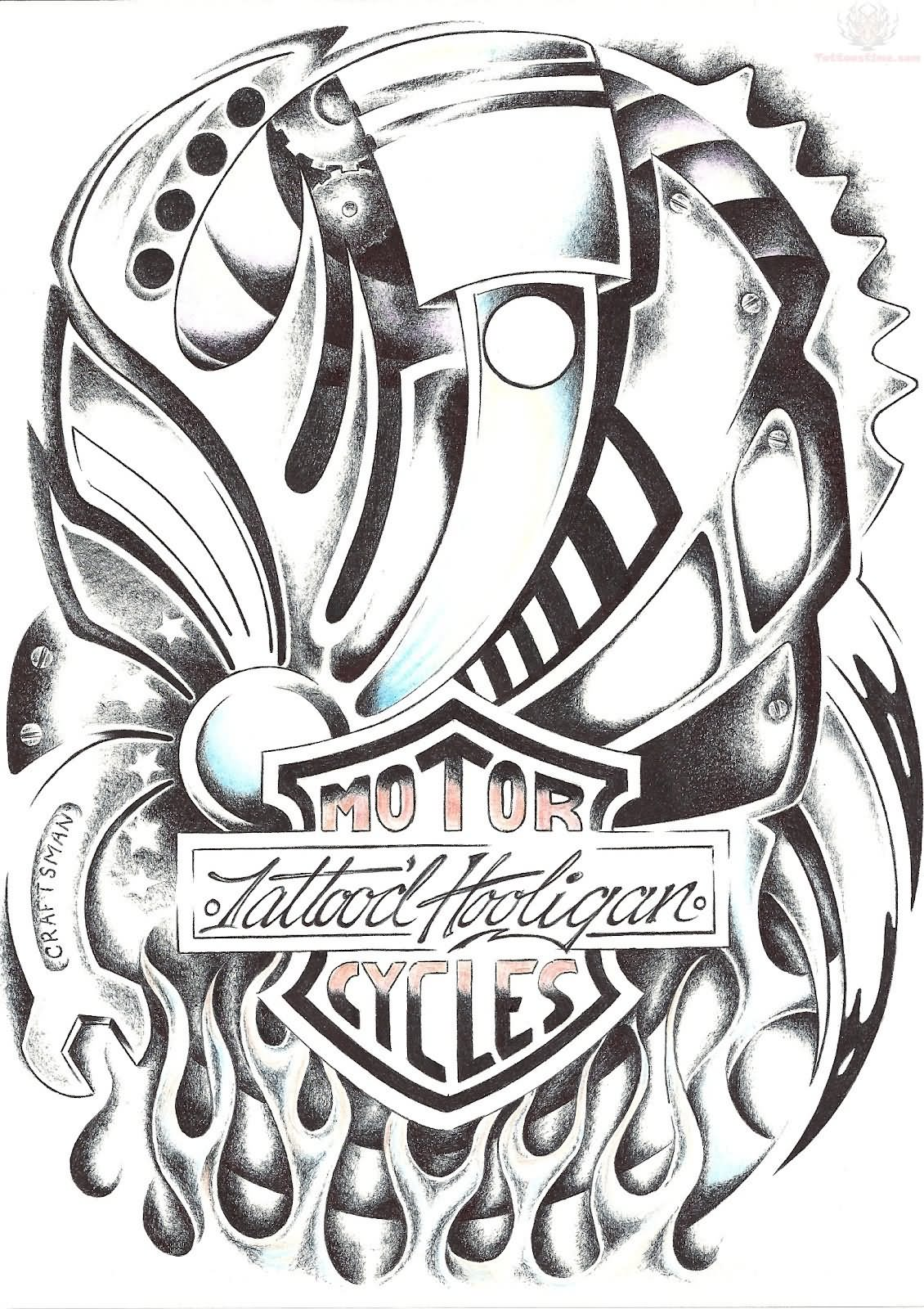 Harley Davidson Engine Drawings Tattoos