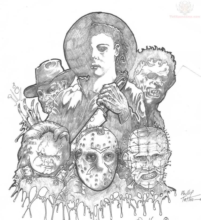 Grey Ink Pinhead and Jason Scary Tattoo Design