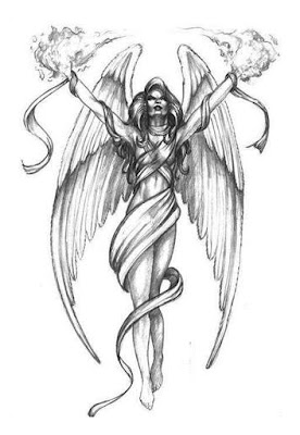 Angel Girl With Fire In Hands Tattoo Design