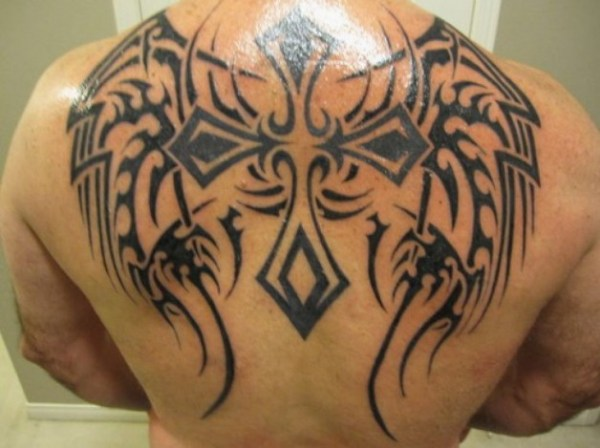 20 Back Wings Tribal Cross Tattoos Ideas And Designs