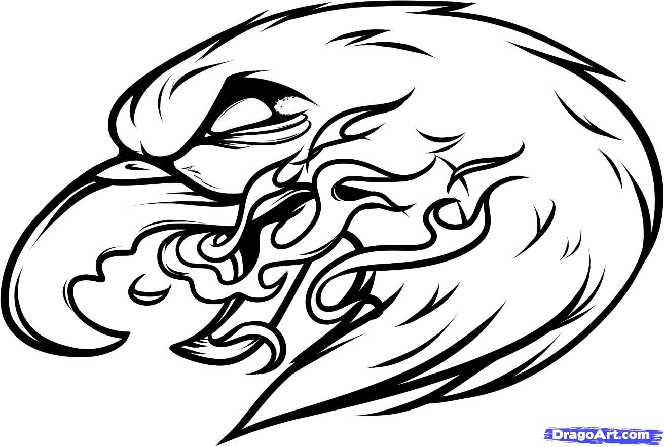 Eagle With Flame Tattoo Design