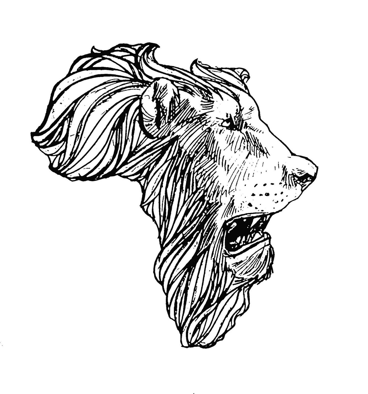 African Lion Head Map Tattoo Design
