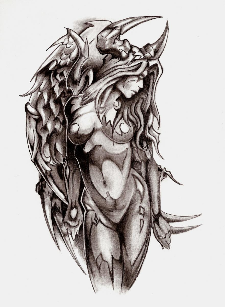 Female Satanic Tattoo Designs