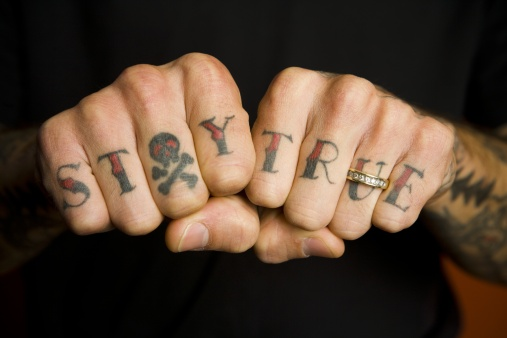 Gangster Finger Tattoos For Men Words