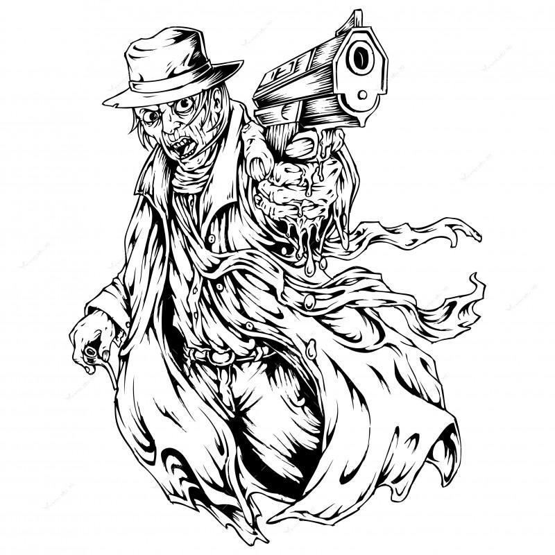 Best Grey Ink Gangster Tattoo Design
