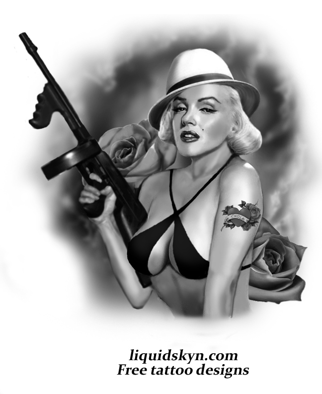 Gta Girl Gun Desktop Wallpaper Marilyn Monroe Gangsta Tattoo Design