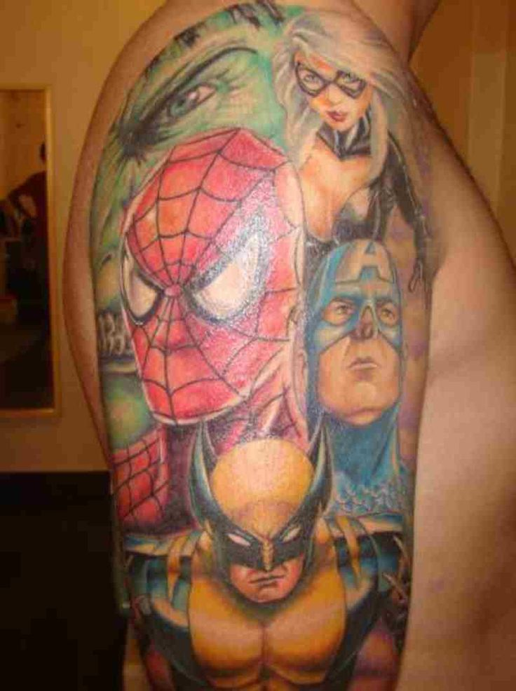 Marvel Half Sleeve Tattoo Designs