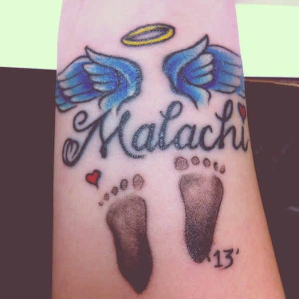 38440156adcfc Baby Footprint Tattoos With Angel Wings - Exploring Mars