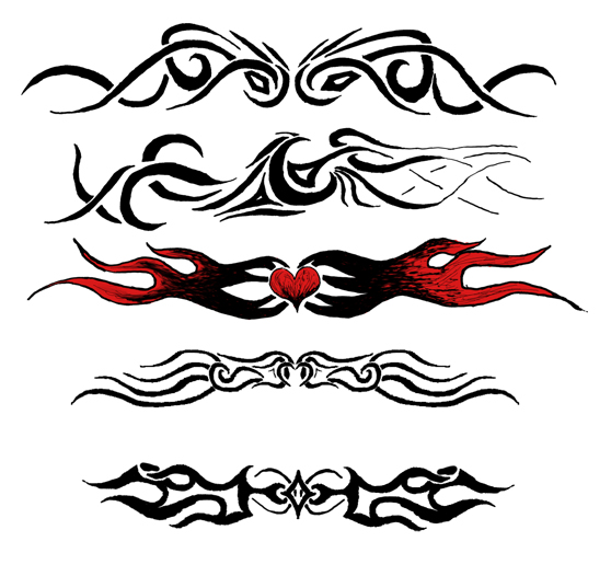 Flaming And Tribal Armband Tattoos Designs