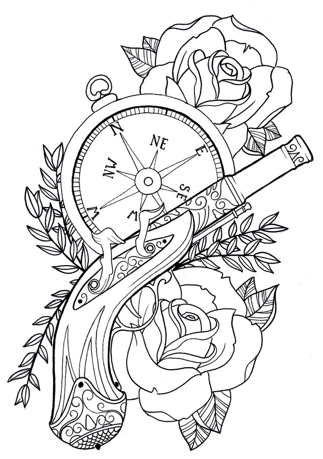 Rose Flowers Compass And Gun Tattoo Design