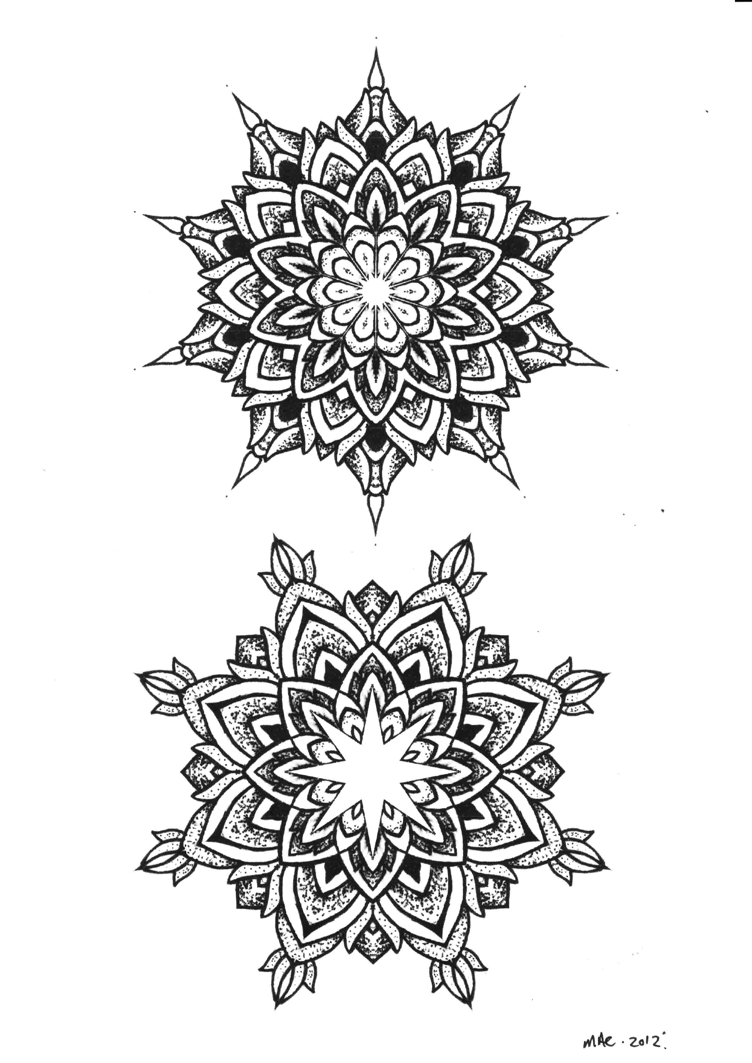 Dot Work Mandala Flowers Tattoos Designs
