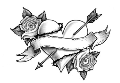 Heart And Roses Tattoos Designs