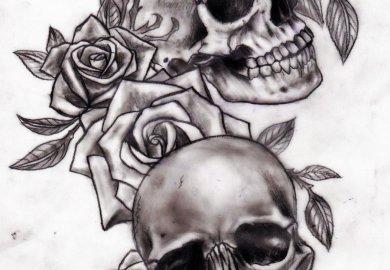 Rose And Skull Tattoo Designs