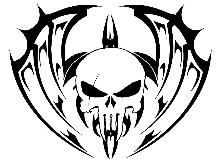 Cool Tribal Skull Tattoo Design