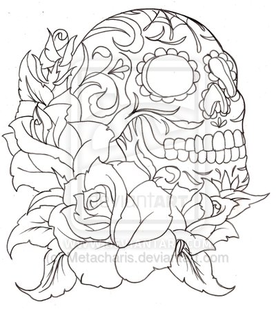 Skull And Rose Tattoo Outline