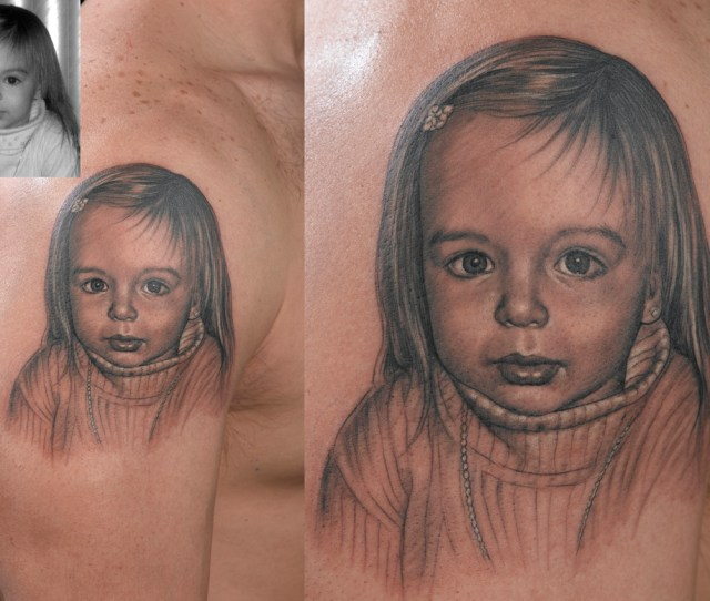 Classic Grey Ink Girl Portrait Tattoo On Right Shoulder