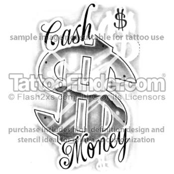 Money Bag Tattoo Stencil
