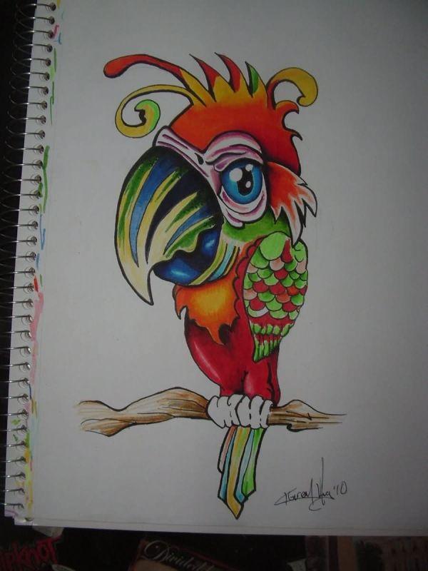 Beautiful Color Parrot Tattoo Design