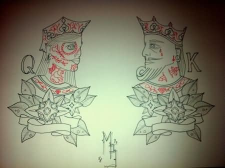King Queen Tattoo Designs