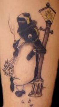 Penguin Standing With Street Light Tattoo