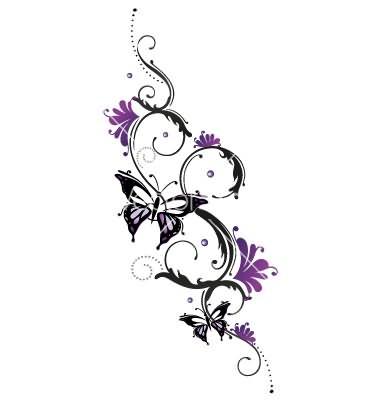 Tattoo Butterfly Flower Design