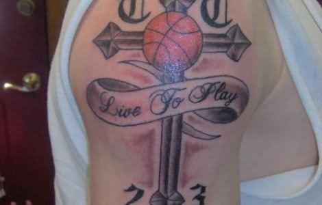 cross with banner and basketball