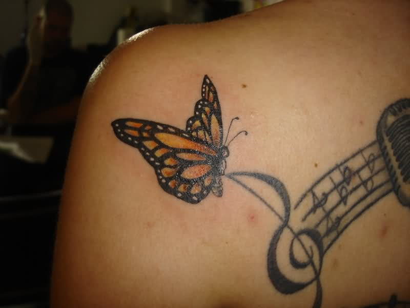 Butterfly Music Note Tattoo Designs Hands