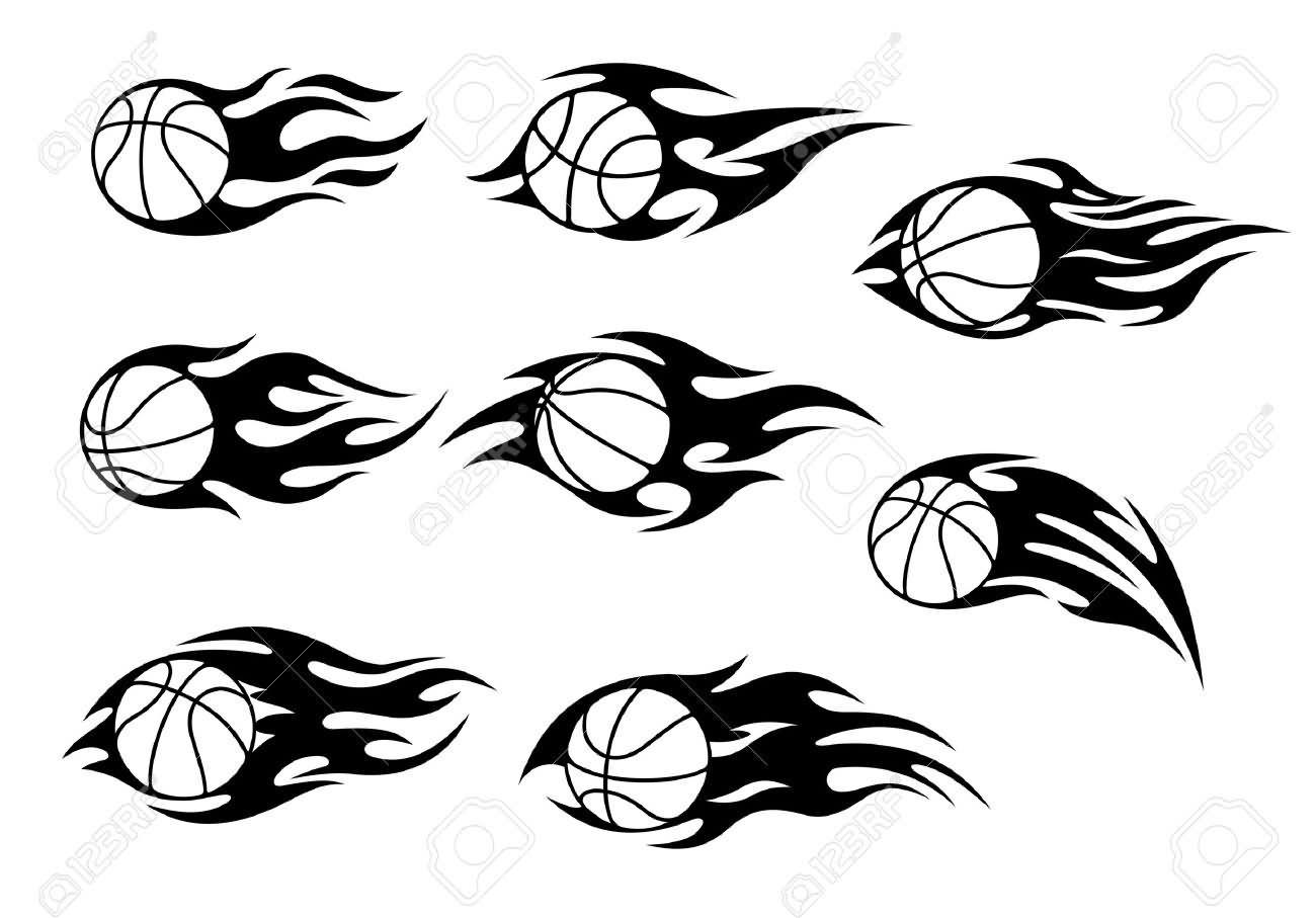 Tribal Flaming Basketball Tattoos Designs