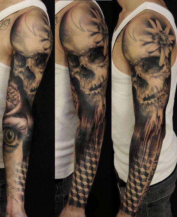 Skull And Roses Tattoo Sleeve For Men