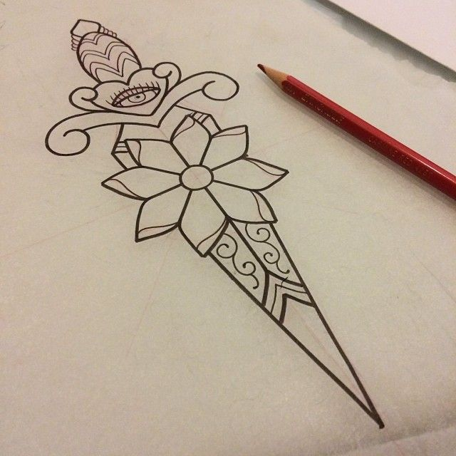 Traditional Dagger Tattoo Flash