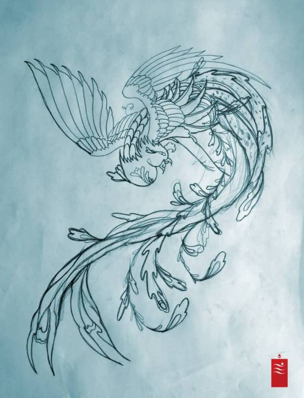 Feminine Phoenix Tattoo Design