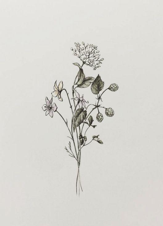 Simple Minimalist Flower Tattoo Designs