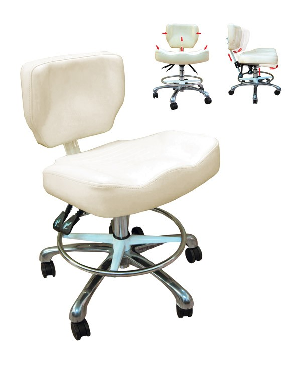 tattoo artist chair white cotton covers bed table