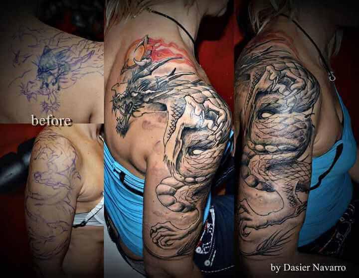 Tattoo Cover up Tattoo Oberarm Drache