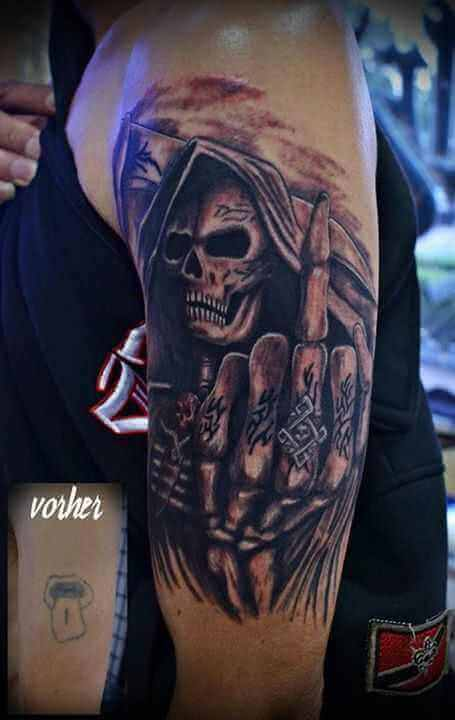 Tattoo Cover up Tattoo Oberarm Skelett