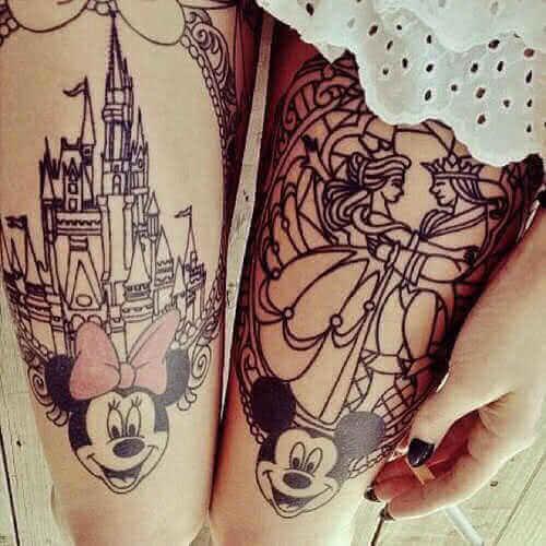 Tattoo Minnie und Mickeymaus Bein Tattoo