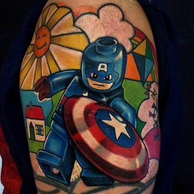 Tattoo Captain America Lego