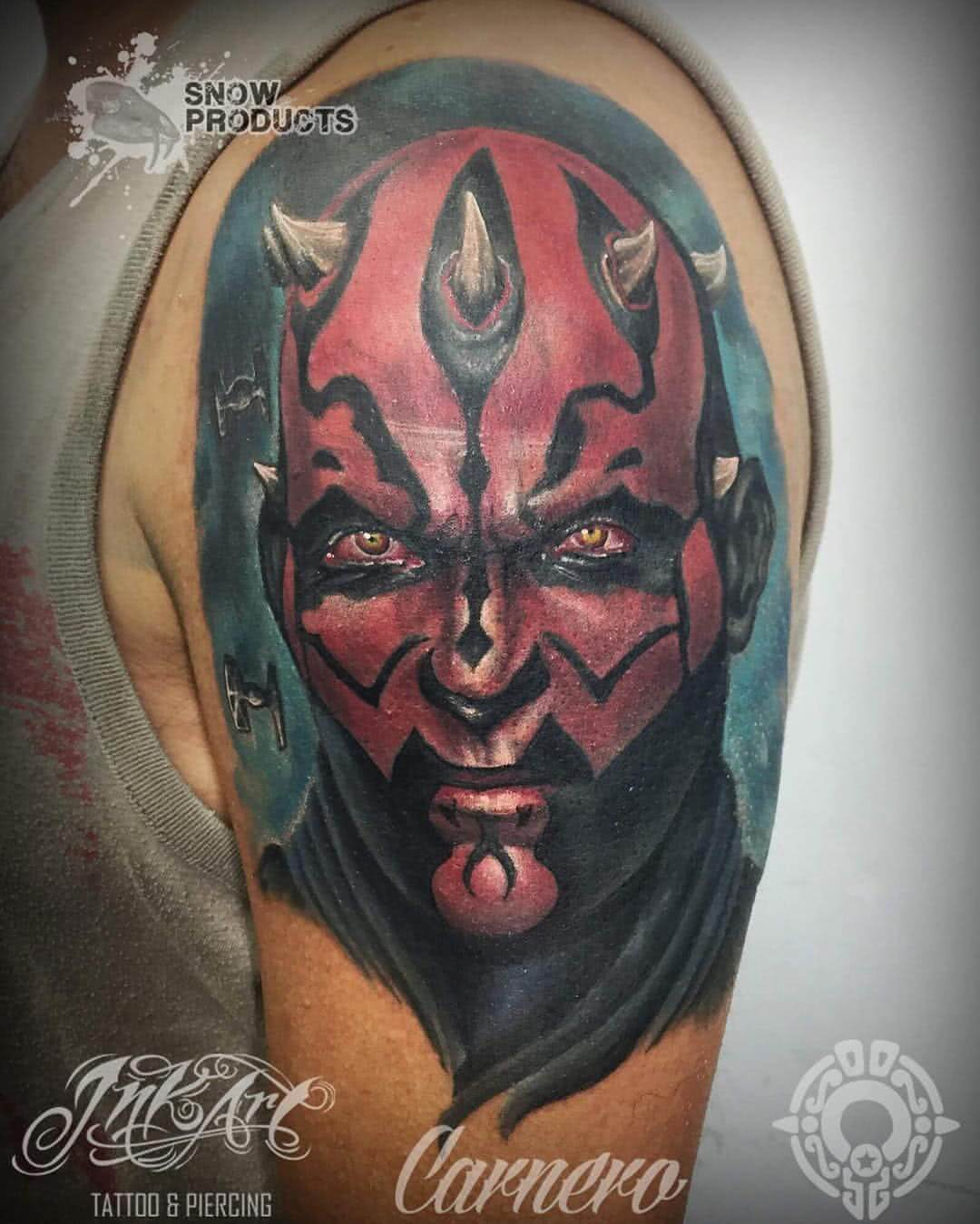 Tattoo Darth Maul auf dem Oberarm