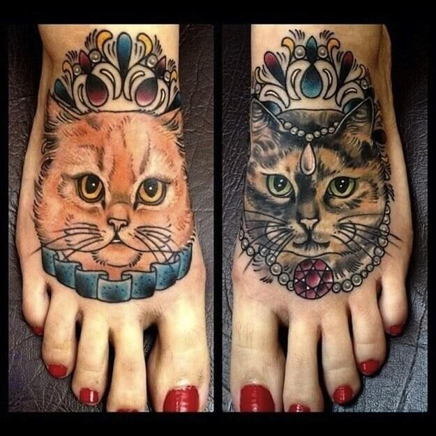 Tattoo Fußtattoo Katzen