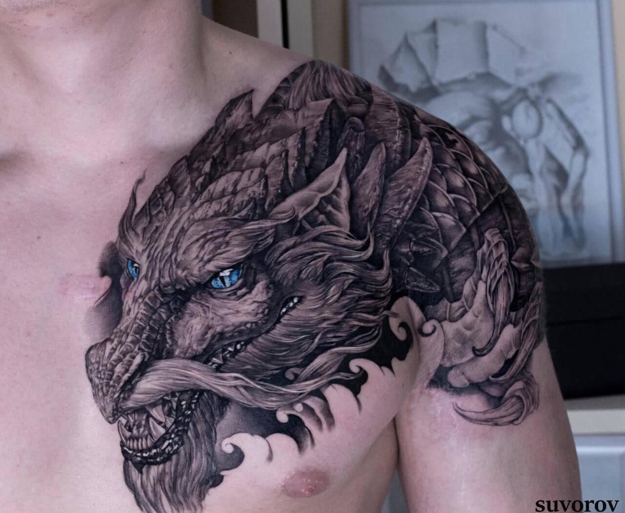 Tattoo Japanischer Drachen auf der Schulter