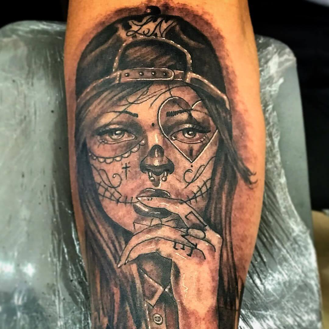 Tattoo La Catrina Skatergirl