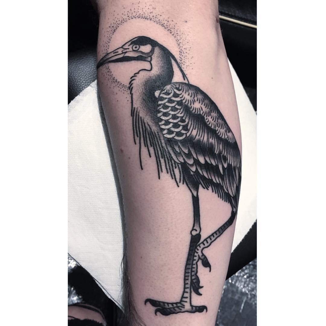 Tattoo schwarzer Kranich