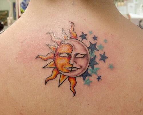 Tattoo Sonne, Mond und Sterne