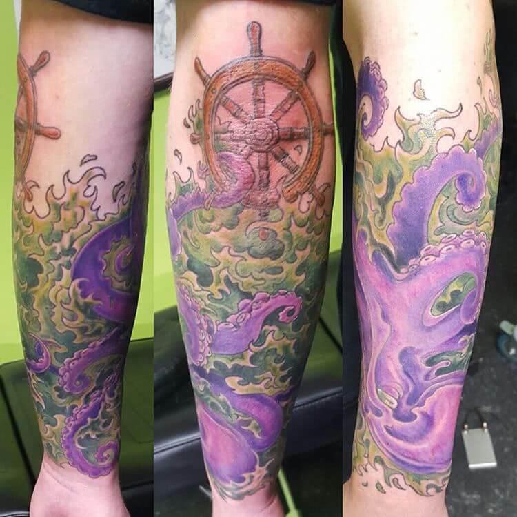 Tattoo Steuerrad mit Krake