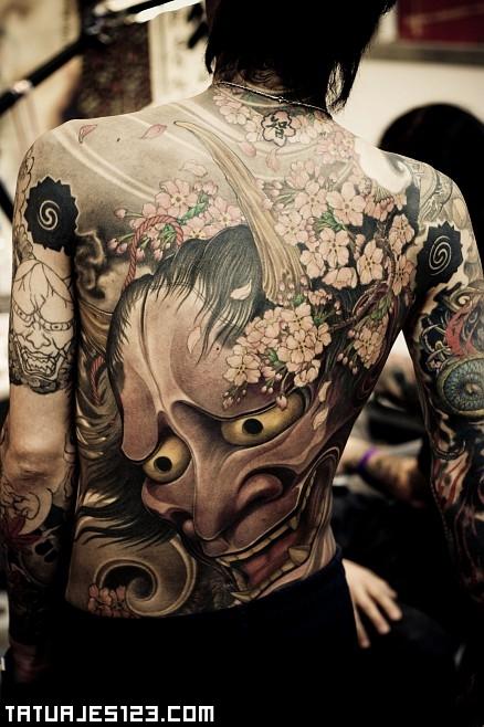 Mascaras Japonesas En La Espalda Tatuajes 123
