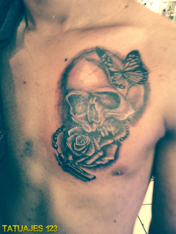 Calavera Con Rosa Tatuajes 123